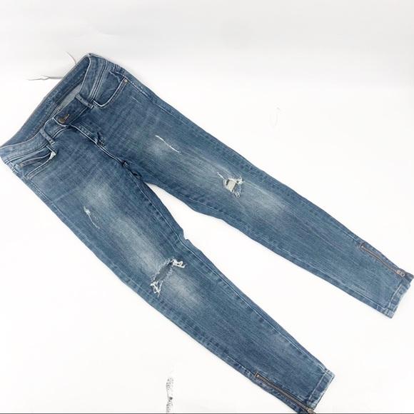 Zara basic distressed skinny jeans ankle zip